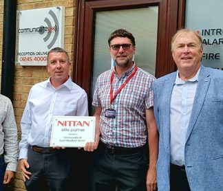 """Communicate UK proudly presented with """"Nittan Elite System"""" Partner Plaque"""